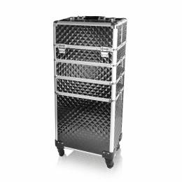 NANI čtyřdílný kosmetický kufřík na kolečkách - 3D Diamond Black/Silver