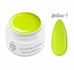 Gel UV NANI Neon Glitter Line 5 ml - Galbenă