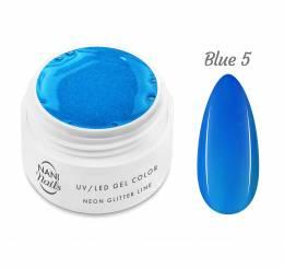 Gel UV NANI Neon Glitter Line 5 ml - Albastră